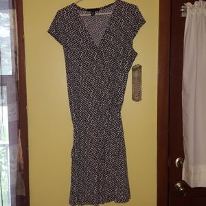 Stretchy wrap dress with cute bead accents